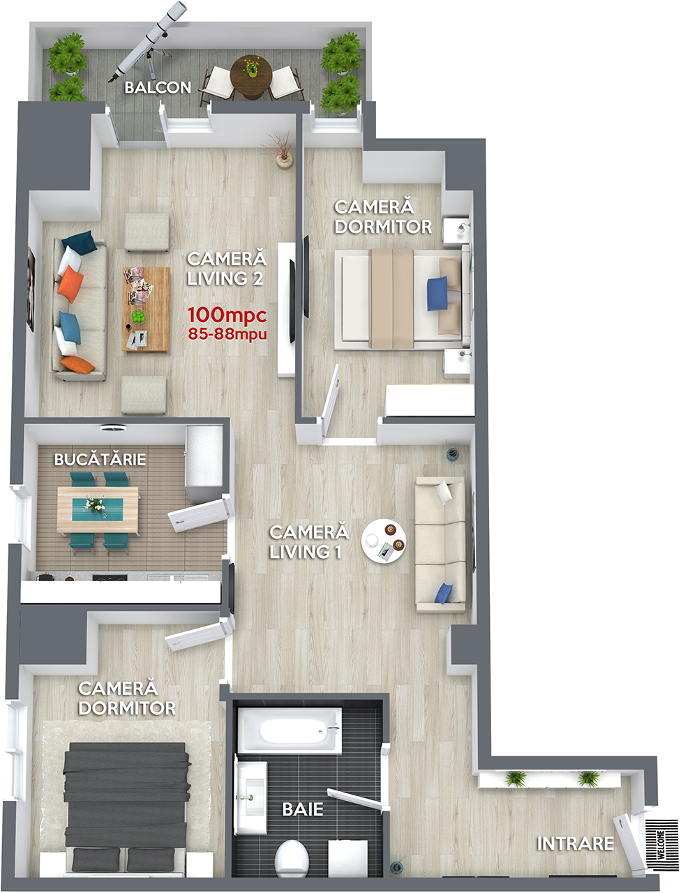 Apartament 100mpc RO6 Ansamblul Rezidential Central